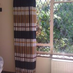 Strip voile over white lining interlined and lined
